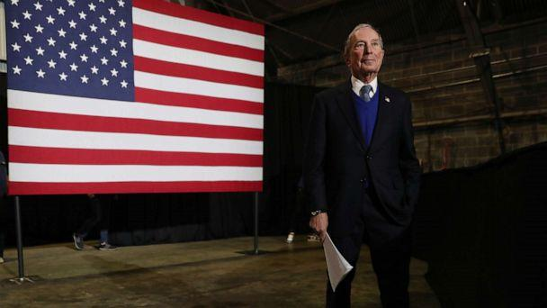 PHOTO: BLOUNTVILLE, TN - FEBRUARY 28: Democratic presidential candidate, former New York City mayor Mike Bloomberg waits to be introduced to speak during a rally held at the Tri-City Aviation on February 28, 2020 in Blountville, Tennessee. (Joe Raedle/Getty Images)