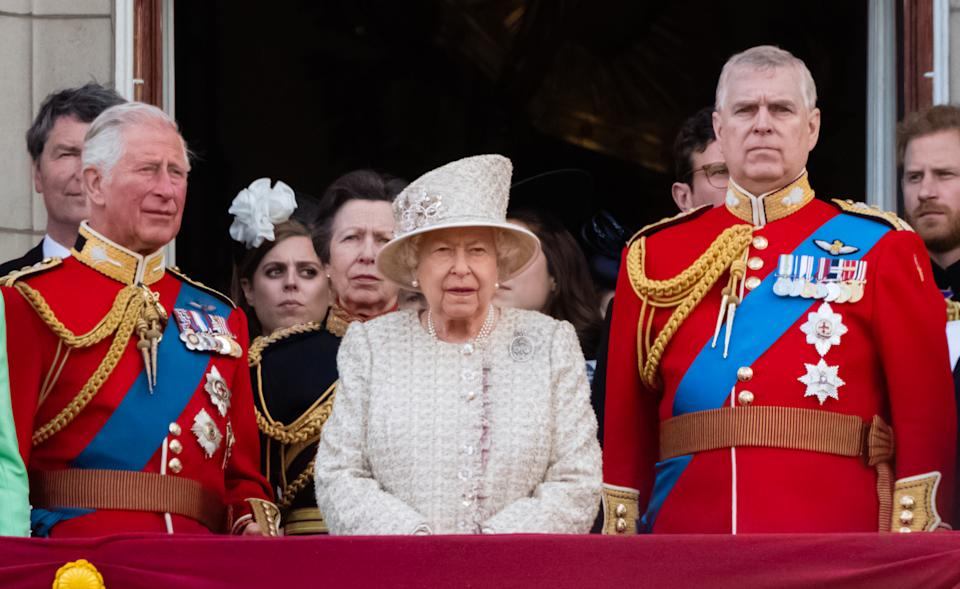 LONDON, ENGLAND - JUNE 08:  Prince Charles, Prince of Wales, Queen Elizabeth II and Prince Andrew, Duke of York appear on the balcony during Trooping The Colour, the Queen's annual birthday parade, on June 08, 2019 in London, England. (Photo by Samir Hussein/WireImage)