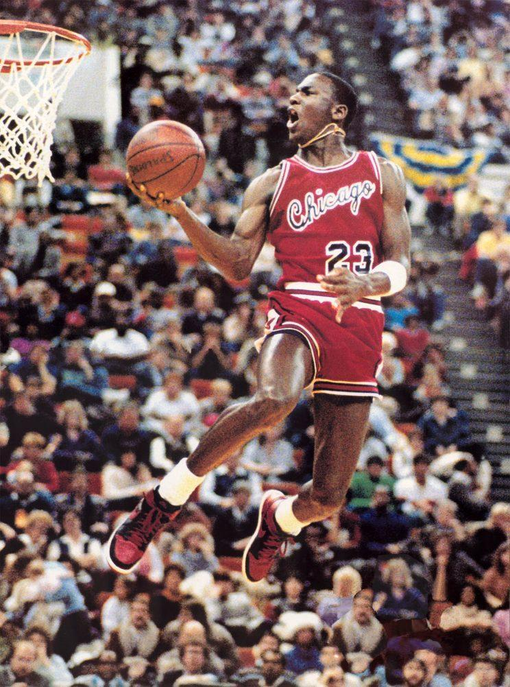 Michael Jordan's red and black sneakers at the 1985 Slam Dunk Contest.