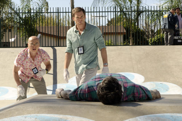 "C.S. Lee as Vince Masuka and Michael C. Hall as Dexter Morgan in the ""Dexter"" Season 8 episode, ""Every Silver Lining."""