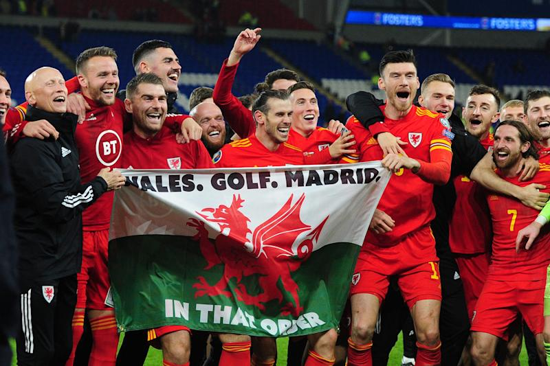 Gareth Bale Wales flag - Wales Golf Madrid in that order