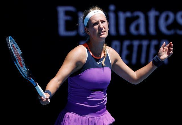 Victoria Azarenka shows her frustration during a first-round loss to Jessica Pegula