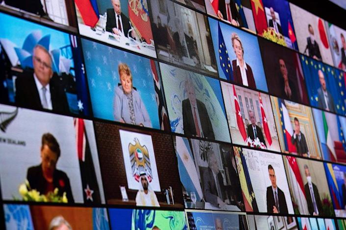 Screen showing the video feeds of each world leader