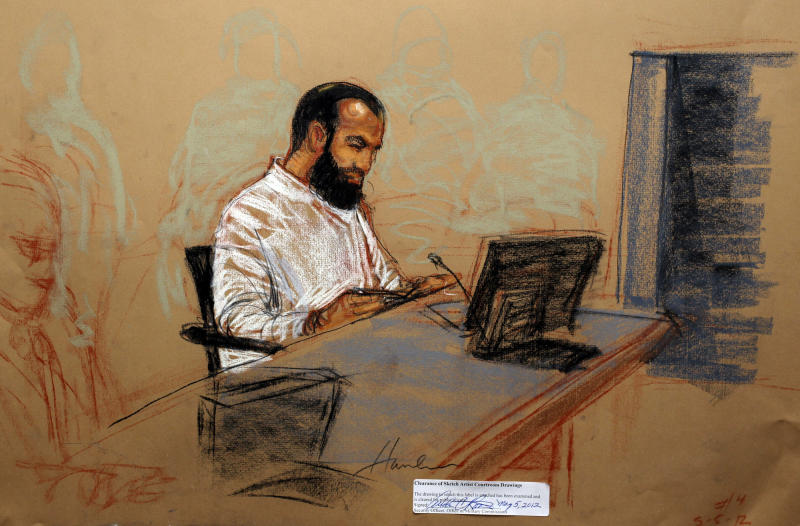 In this photo of a sketch by courtroom artist Janet Hamlin and reviewed by the U.S. Department of Defense, accused Sept. 11 co-conspirator Ali Abd al-Aziz Ali, also known as Ammar al Baluchi, is shown while attending his military hearing at the Guantanamo Bay U.S. Naval Base in Cuba, Saturday May 5, 2012. Khalid Sheikh Mohammed, the self-proclaimed mastermind of the Sept. 11 attacks repeatedly declined to respond to a judge's questions Saturday, and co-defendant Walid bin Attash was briefly restrained at a military hearing as five men charged with the worst terror attack in U.S. history appeared in public for the first time in more than three years. (AP Photo/Janet Hamlin, Pool)