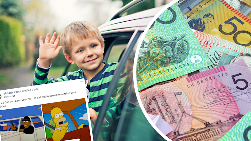 Pictured: Waving goodbye and tooting goodbye, Australian cash and poll about fines. Images: Getty, Facebook (Victoria Police)
