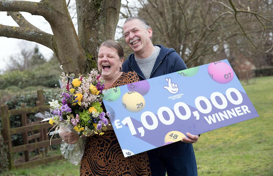Karen Dakin said she has no plans to quit her job as a school dinner lady following her lottery win. (National Lottery/ PA)