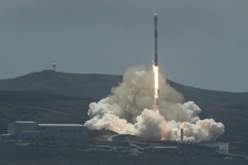 The SpaceX Falcon 9 rocket carrying the GRACE twin satellites and five Iridium commercial communication satellites as seen in this NASA photo lifting off from the Vandenberg Air Force Base in California