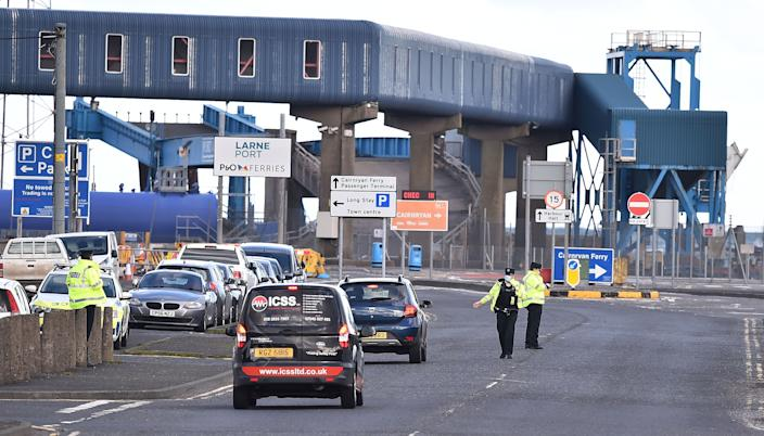 The UK government extended a grace period for some checks on agricultural and food products imported by retailers to Northern Ireland until 1 October. Above, a checkpoint at Larne Harbour, Northern Ireland. Photo: Charles McQuillan/Getty Images