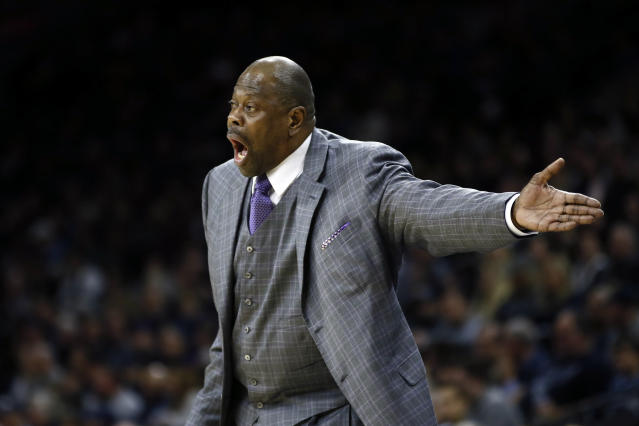 FILE - In this Saturday, Jan. 11, 2020, file photo, Georgetown head coach Patrick Ewing yells to his team during the first half of an NCAA college basketball game against Villanova, in Philadelphia. In a statement issued by Georgetown on Friday, May 22, 2020, Ewing has tested positive for COVID-19. (AP Photo/Matt Slocum, File)