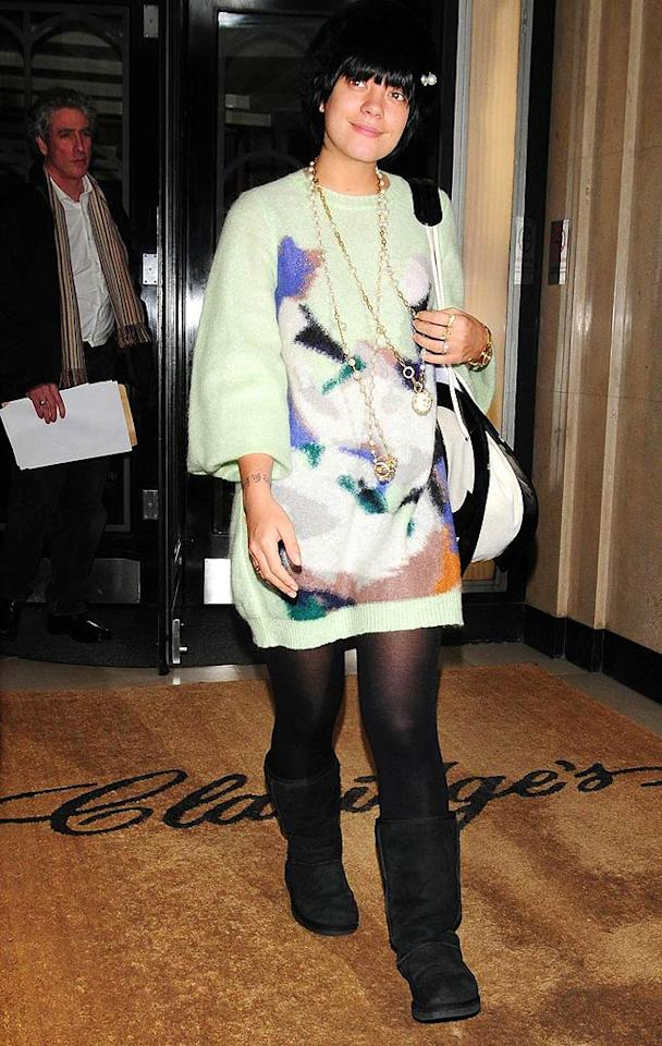 """Speaking of unfashionable footwear, why must Brit songstress Lily Allen torture us with those black Ugg boots ... or that multi-colored muumuu? <a href=""""http://www.pacificcoastnews.com/"""" target=""""new"""">PacificCoastNews.com</a> - March 13, 2009"""