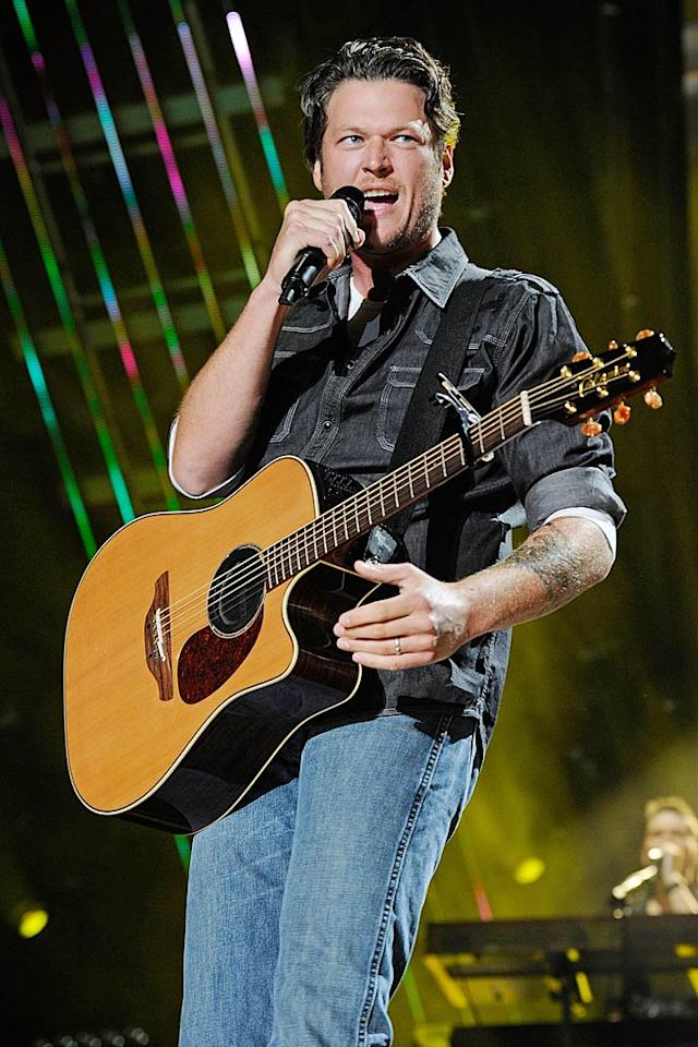 """Miranda's new hubby, """"The Voice's"""" Blake Shelton, is earning rave reviews for his just-released eighth album, <i>Red River Blue</i>, which is filled with his guitar playing and rich vocals. Think they ever strum together at home? Frederick Breedon IV/<a href=""""http://www.gettyimages.com/"""" target=""""new"""">GettyImages.com</a> - June 12, 2011"""