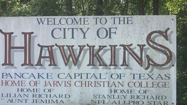 PHOTO: The Welcome to Hawkins sign depicts the Texas town as 'pancake capital' of the state. (ABC News)