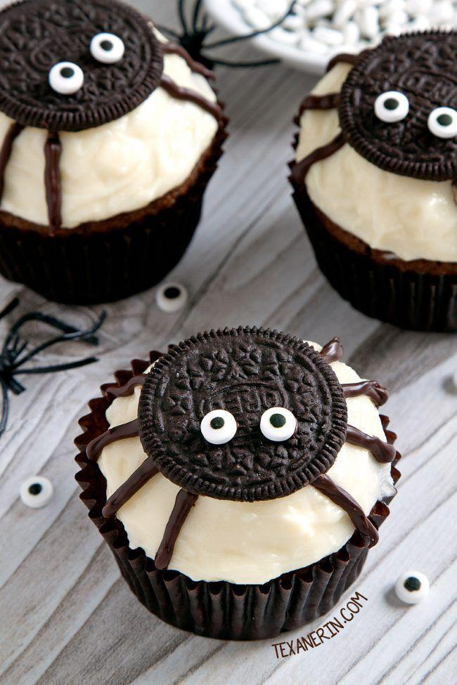 """<p>Use everyone's favorite chocolate cookie to craft these cuties on top of pumpkin cupcakes and cream cheese frosting.</p><p><strong>Get the recipe at <a href=""""https://www.texanerin.com/spider-cupcakes-for-halloween/"""" rel=""""nofollow noopener"""" target=""""_blank"""" data-ylk=""""slk:Texanerin Baking"""" class=""""link rapid-noclick-resp"""">Texanerin Baking</a>.</strong></p><p><strong><a class=""""link rapid-noclick-resp"""" href=""""https://www.amazon.com/Nabisco-Oreo-Cookies-America-Favorite-Cookie/dp/B00ULX7GU8/?tag=syn-yahoo-20&ascsubtag=%5Bartid%7C10050.g.1366%5Bsrc%7Cyahoo-us"""" rel=""""nofollow noopener"""" target=""""_blank"""" data-ylk=""""slk:SHOP OREOS"""">SHOP OREOS</a><br></strong></p>"""