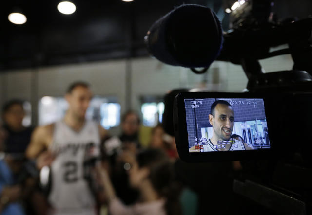 San Antonio Spurs' Manu Ginobili, of Argentina, talks with reporters during the team's NBA basketball media day, Monday, Sept. 30, 2013, in San Antonio. (AP Photo/Eric Gay)