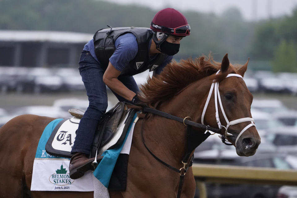 Known Agenda trains the day before the 153rd running of the Belmont Stakes horse race in Elmont, N.Y., Friday, June 4, 2021. (AP Photo/Seth Wenig)