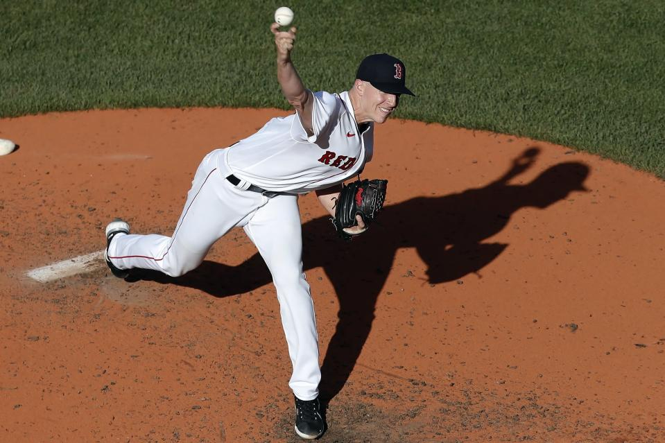 Boston Red Sox's Nick Pivetta pitches during the fifth inning of a baseball game against the Toronto Blue Jays, Saturday, June 12, 2021, in Boston. (AP Photo/Michael Dwyer)
