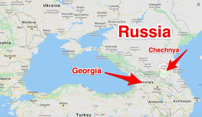 A map showing Russia's Chechnya region in relation to Georgia.