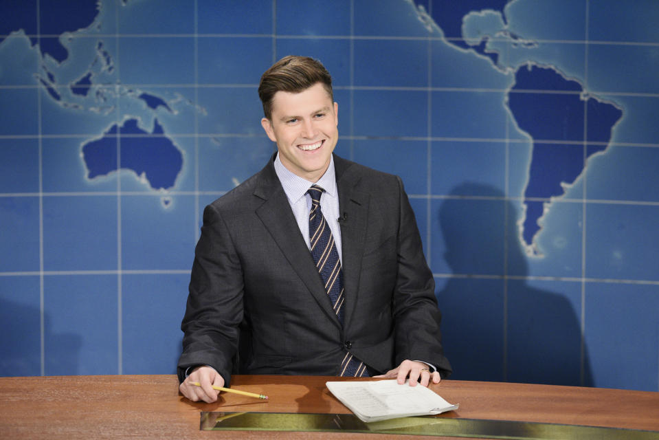 "SATURDAY NIGHT LIVE -- ""John Mulaney"" Episode 1790 -- Pictured: Anchor Colin Jost during Weekend Update on Saturday, October 31, 2020 -- (Photo by: Kyle Dubiel/NBC/NBCU Photo Bank via Getty Images)"