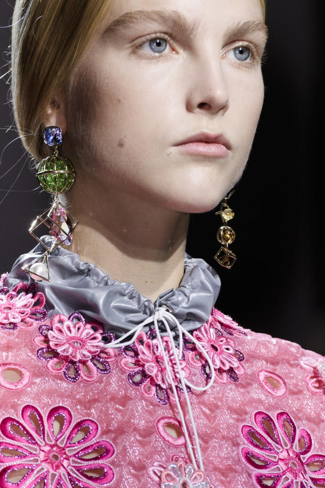<p><i>Colorful crystal teardrop earrings from the SS18 Mary Katrantzou collection. (Photo: ImaxTree) </i></p>