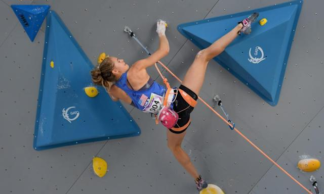 """<span class=""""element-image__caption"""">Margo Hayes competes during the sport climbing lead single women's qualification of the World Games in Wroclaw, Poland, last year.</span> <span class=""""element-image__credit"""">Photograph: Matthias Hangst/Bongarts/Getty Images</span>"""