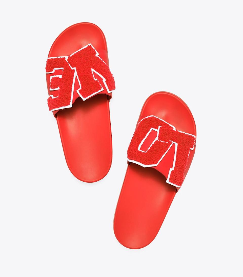 <p>We can't help but smile seeing these <span>Tory Sport Love Slide Sandals</span> ($98).</p>