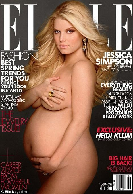 <p>Simpson announced that she and Eric Johnson were expecting a girl as she went nude on the April 2012 issue of <em>Elle</em>.<br /><em>[Photo: Elle]</em> </p>