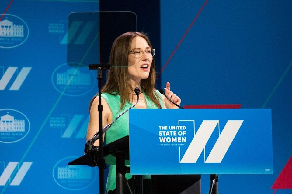 Heather Boushey, executive director and chief economist, Equitable Growth, gives remarks at the White House Summit on the United State of Women in 2016.