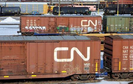 FILE PHOTO -  Railcars stand idle at the CN railyards in Edmonton