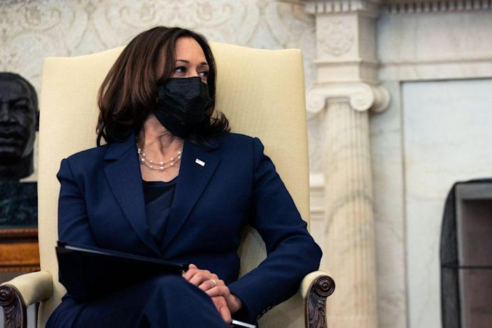 Vice President Kamala Harris looks on during a meeting with U.S. President Joe Biden and Treasury Secretary Janet Yellen in the Oval Office of the White House on January 29, 2021 in Washington, DC. (Photo by Anna Moneymaker-Pool/Getty Images)
