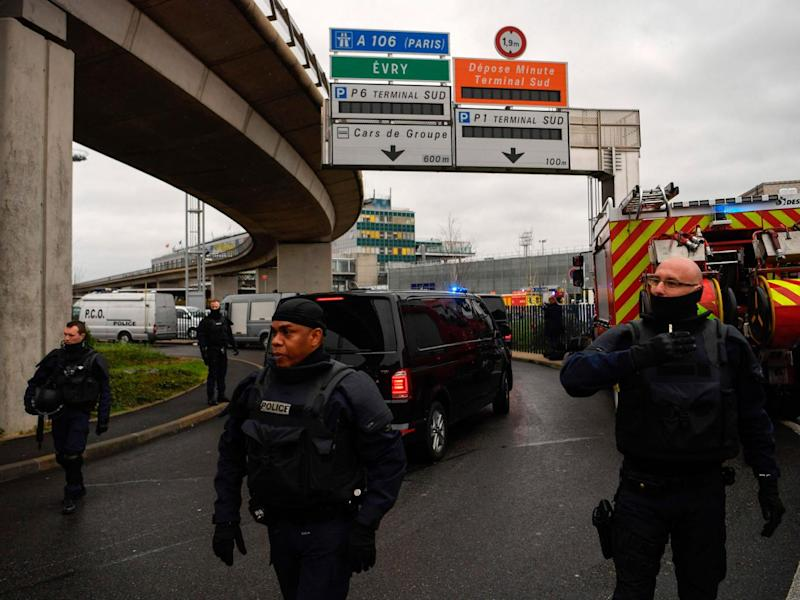 French armed police secure the area at Paris Orly airport on 18 March (AFP/Getty Images)