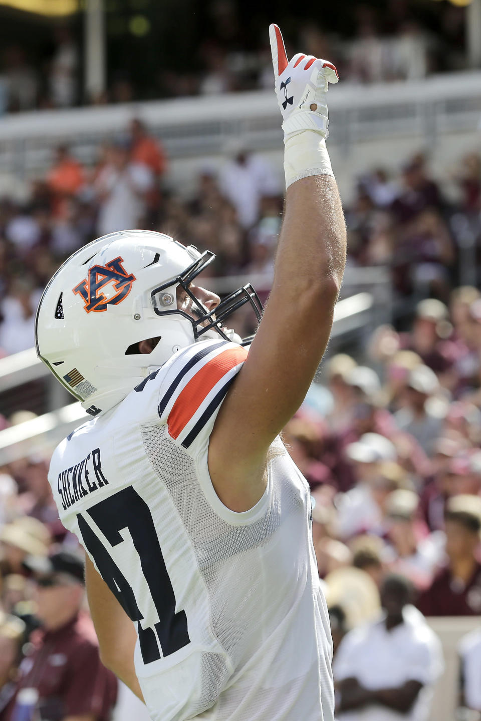Auburn tight end John Samuel Shenker (47) reacts after scoring a touchdown against Texas A&M during the first half of an NCAA college football game, Saturday, Sept. 21, 2019, in College Station, Texas. (AP Photo/Sam Craft)