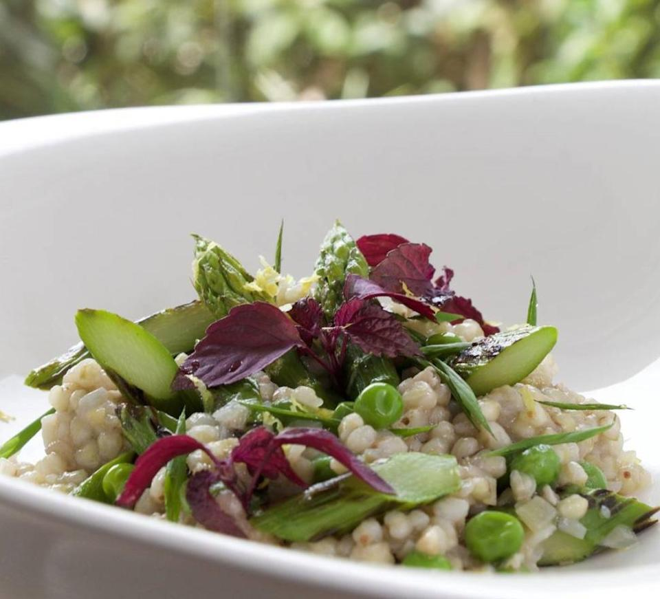 """<p>With asparagus, peas and fresh herbs by <a rel=""""nofollow noopener"""" href=""""https://www.instagram.com/p/BUL21cTg9pS/?taken-by=phildelan"""" target=""""_blank"""" data-ylk=""""slk:Philippe Derrien"""" class=""""link rapid-noclick-resp"""">Philippe Derrien</a> [Photo: Instagram/phildelan] </p>"""