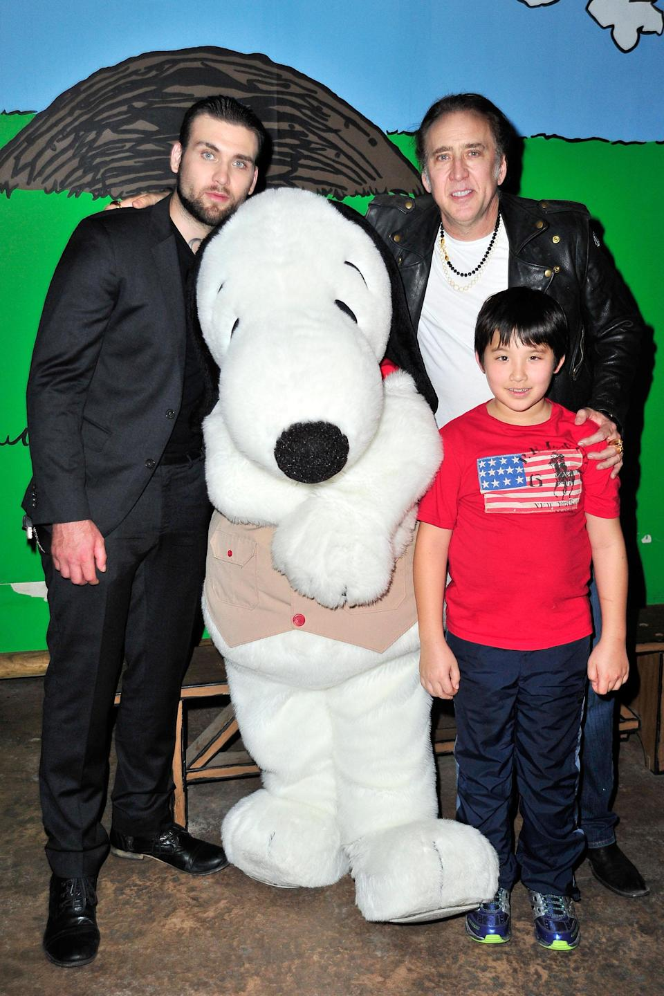 Nicolas Cage with his sons Weston (L) and Kal-El in 2015
