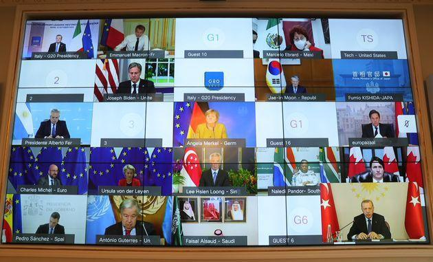 ISTANBUL, TURKEY - OCTOBER 12: Turkish President Recep Tayyip Erdogan attends G20 extraordinary meeting on Afghanistan via video conference, at Vahdettin Mansion, in Istanbul, Turkey on October 12, 2021. (Photo by Mustafa Kamaci/Anadolu Agency via Getty Images) (Photo: Anadolu Agency via Getty Images)