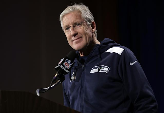 Seattle Seahawks head coach Pete Carroll listens to a question during a news conference Monday, Jan. 27, 2014, in Jersey City, N.J. The Seahawks and the Denver Broncos are scheduled to play in the Super Bowl XLVIII football game Sunday, Feb. 2, 2014. (AP Photo/Jeff Roberson)