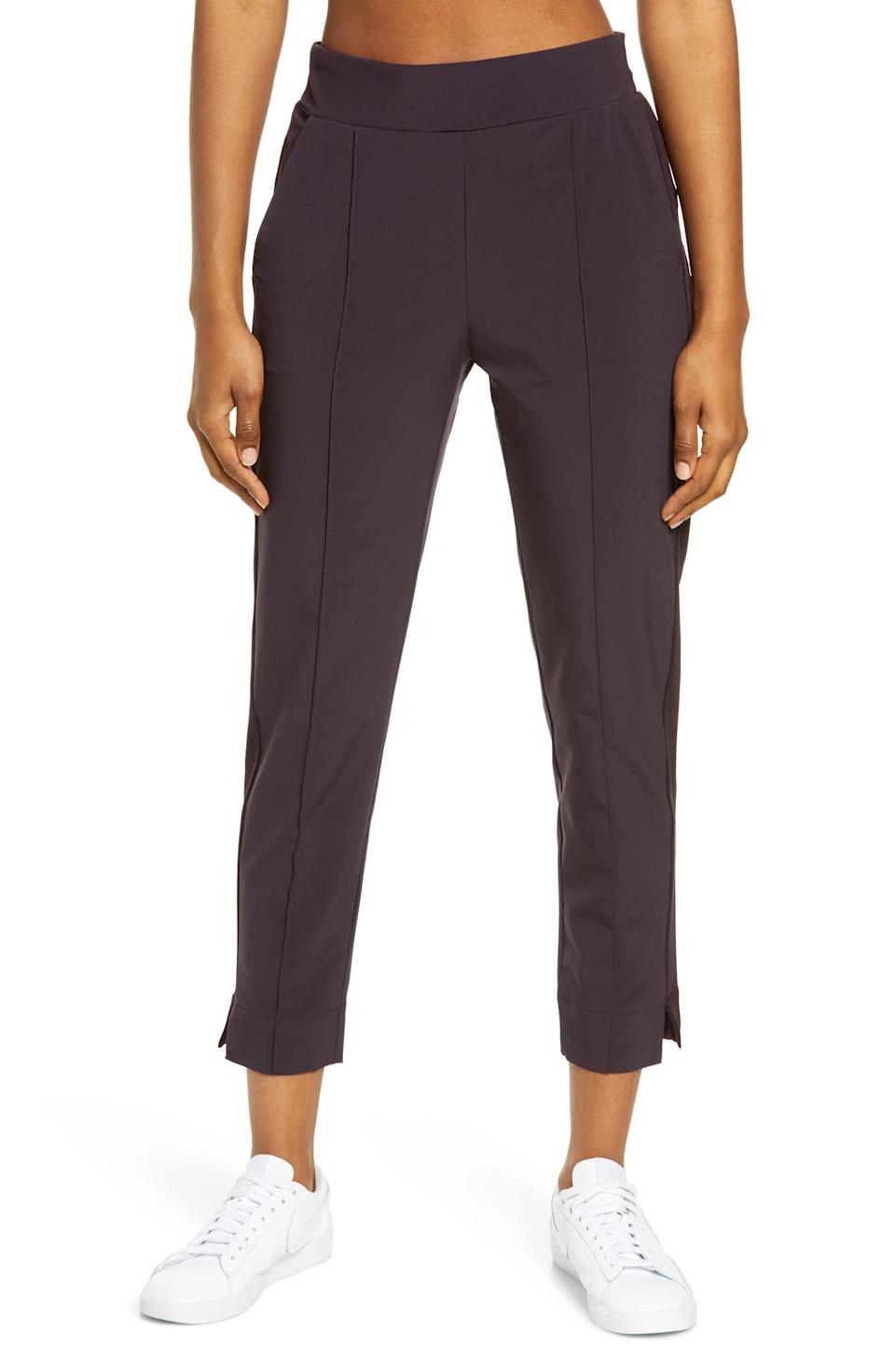 """<h2>Zella Getaway Pants</h2><br>In case you haven't picked up on it, we're big fans of the cropped trouser look. Aptly named Getaway Pants, these bottoms were specifically created for long-distance travel. They're even topped with an elastic waistband for optimal comfort.<br><br><em>Shop <a href=""""https://www.nordstrom.com/brands/zella--5227?origin=productBrandLink"""" rel=""""nofollow noopener"""" target=""""_blank"""" data-ylk=""""slk:Zella"""" class=""""link rapid-noclick-resp""""><strong>Zella</strong></a></em><br><br><strong>Zella</strong> Getaway Pants, $, available at <a href=""""https://go.skimresources.com/?id=30283X879131&url=https%3A%2F%2Fwww.nordstrom.com%2Fs%2Fzella-getaway-pants%2F5459384%3Forigin%3Dcategory-personalizedsort%26breadcrumb%3DHome%252FActivewear%252FWomen%2527s%2520Activewear%252FSweatpants%2520%2526%2520Joggers%26color%3D001"""" rel=""""nofollow noopener"""" target=""""_blank"""" data-ylk=""""slk:Nordstrom"""" class=""""link rapid-noclick-resp"""">Nordstrom</a>"""