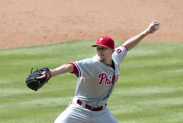 Philadelphia Phillies relief pitcher Jake Diekman (63) works in seventh inning of a baseball game against the Atlanta braves Monday, Sept. 1, 2014, in Atlanta. Diekman combined with three other pitchers for a no hitter. (AP Photo/John Bazemore)