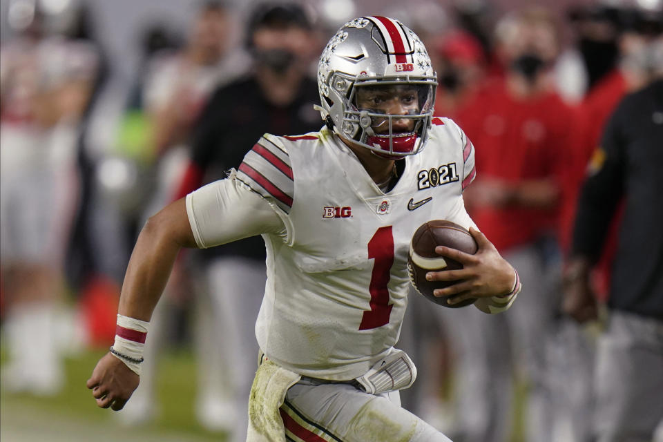 Ohio State quarterback Justin Fields could be an option for the Jaguars, even if he's not the favorite to be the first pick in the draft. (AP Photo/Chris O'Meara)