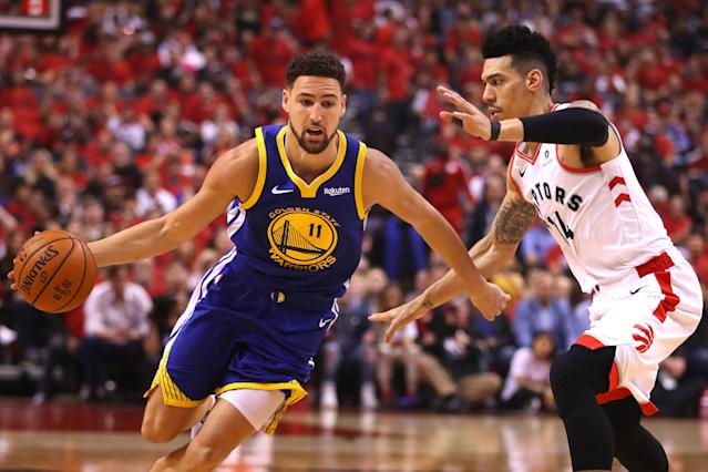 "Klay Thompson is reportedly ""likely questionable"" for Game 3 after an MRI confirmed that he suffered a hamstring strain. (Getty)"