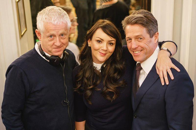 Reunited: Richard Curtis, Martine McCutcheon and Hugh Grant on the set of the Love Actually sequel: Twitter/ Emma Freud