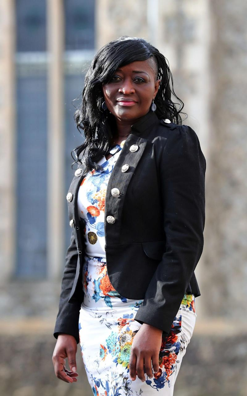 Nurse Sarah Kuteh arrives at the Employment tribunal offices in County Square, Ashford, Kent, for an employment tribunal - PA