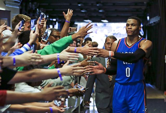 "Try as they might, nobody in Orlando could touch <a class=""link rapid-noclick-resp"" href=""/nba/players/4390/"" data-ylk=""slk:Russell Westbrook"">Russell Westbrook</a> on Wednesday night. (AP)"