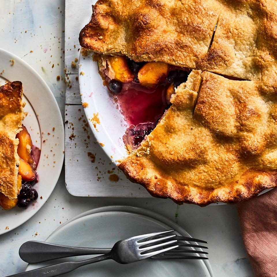 <p>Sweet summer peaches and blueberries shine in this peach-blueberry pie recipe. While they can't compete with fresh fruit, thawed frozen peaches and blueberries can be used in a pinch. Just be sure to add more cornstarch (up to double the amount if you're using all frozen fruit) to soak up the extra liquid.</p>