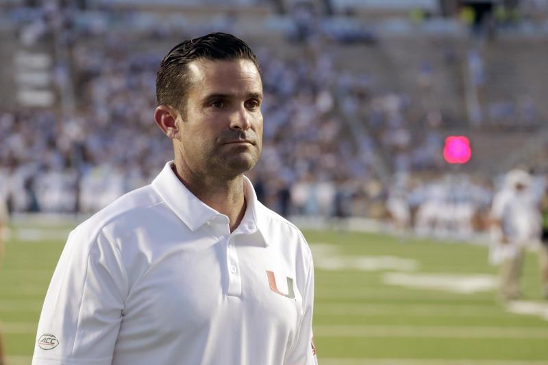Miami head coach Manny Diaz before the start of an NCAA college football game against North Carolina in Chapel Hill, N.C., Saturday, Sept. 7, 2019. (AP Photo/Chris Seward)
