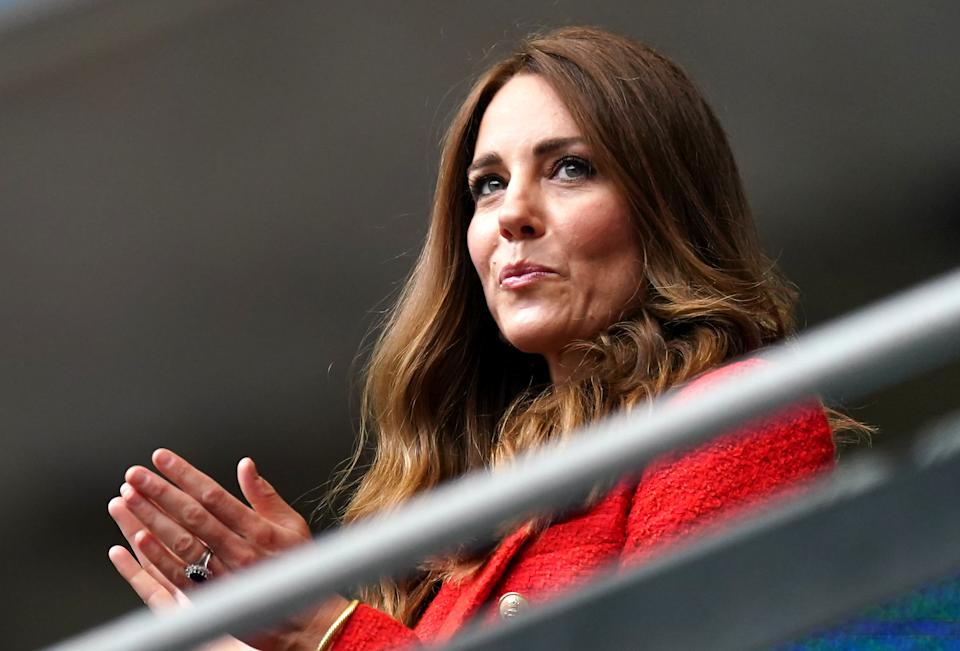 The Duchess of Cambridge wears a red blazer in the stands before the UEFA Euro 2020 round of 16 match at Wembley Stadium, London. Picture date: Tuesday June 29, 2021. (Photo by Mike Egerton/PA Images via Getty Images)