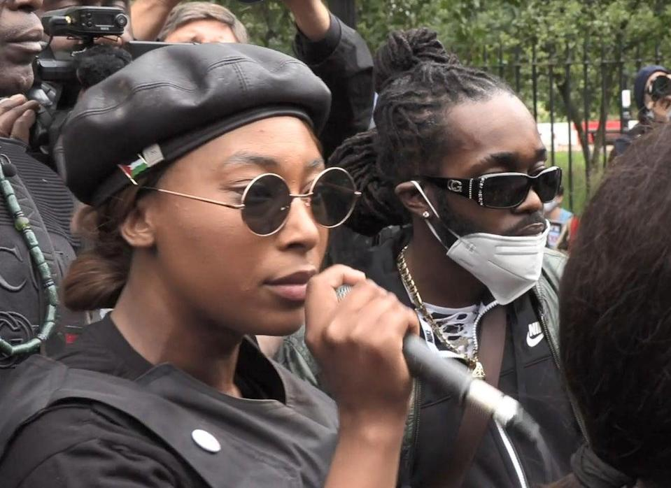 Sasha Johnson speaking during a protest in London last yearPA