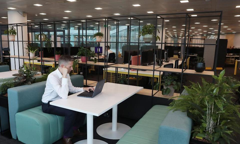 The all-new interiors of NatWest's post-pandemic, hybrid-working offices at 250 Bishopsgate in the City of London.