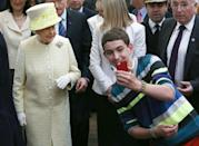 "<p>Selfies are seen as a <a href=""https://www.news24.com/channel/Gossip/Royal-News/prince-william-breaks-royal-protocol-to-take-a-selfie-with-a-fan-20200305"" rel=""nofollow noopener"" target=""_blank"" data-ylk=""slk:breach in royal protocol"" class=""link rapid-noclick-resp"">breach in royal protocol</a>, but that doesn't stop fans from taking them. Queen Elizabeth graciously joined the bandwagon of the digital trend, as she greets her fans in 2014.</p>"
