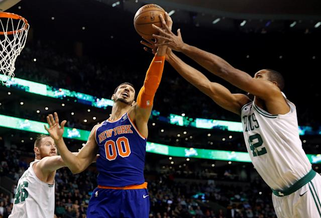 Jan 31, 2018; Boston, MA, USA; New York Knicks center Enes Kanter (00) and Boston Celtics forward Al Horford (42) battle for a rebound during the first quarter at TD Garden. Mandatory Credit: Winslow Townson-USA TODAY Sports TPX IMAGES OF THE DAY