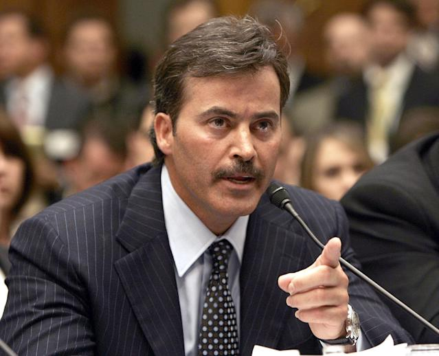 Rafael Palmeiro tested positive for steroids after insisting he was clean. (AP Photo)